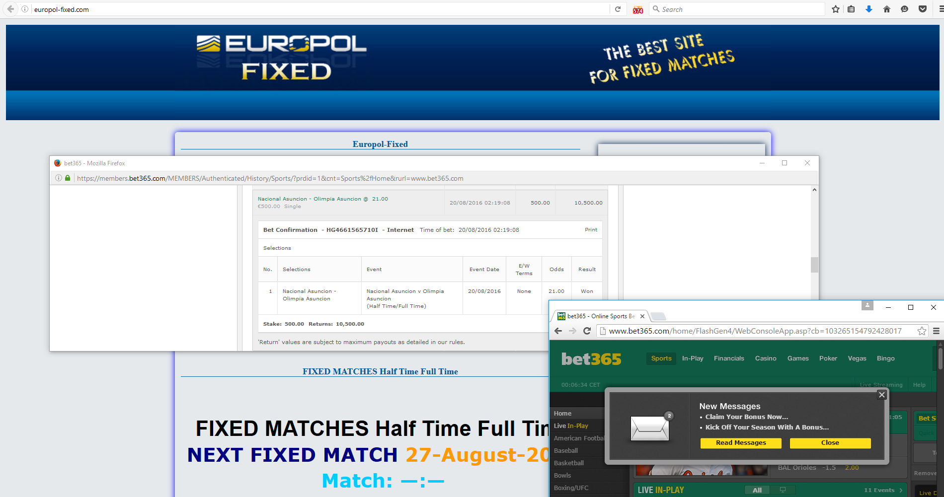 20-08-2016 Europol fixed matches